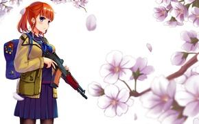 Picture Sakura, red, schoolgirl, bag, flowering, satchel, Kalashnikov, lipesti