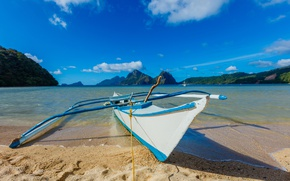Picture sand, sea, the sky, the sun, clouds, mountains, tropics, shore, boat, Philippines