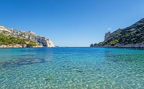 Wallpaper sea, the sky, the sun, stones, rocks, shore, France, yachts, horizon, Laguna, Marseille