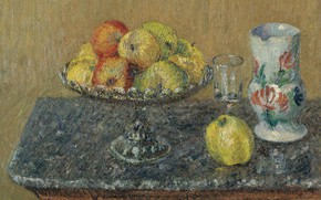Picture picture, fruit, still life, Gustave Loiseau, Gustave Loiseau, Fruit basket with Apples and Pitcher