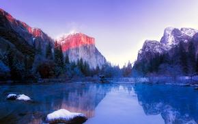 Picture winter, water, snow, trees, rocks, dawn, CA, USA, Yosemite