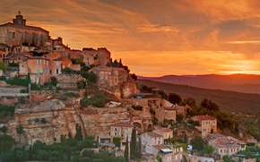 Picture mountains, France, home, slope, glow, Provence-Alpes-Cote d'azur, Proud