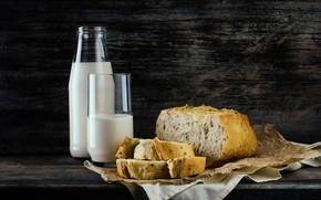 Wallpaper tablecloth, milk, still life, bread