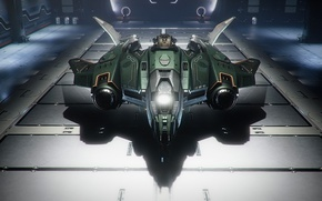 Wallpaper hangar, starship, Star Citizen, Vanguard