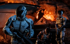 Picture gun, Andromeda, game, weapon, Mass Effect, rifle, suit, pearls, Mass Effect Andromeda