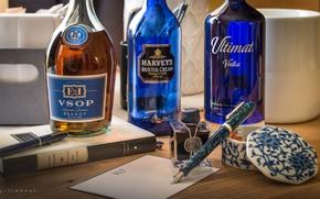 Picture handle, bottle, still life, brandy