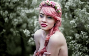 Picture makeup, wreath, pink hair, Agnes, Cyril ✪ Max