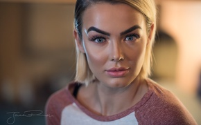 Picture look, face, model, portrait, makeup, hairstyle, blonde, beauty, bokeh, closeup, Rosie Robinson, Jack Russell