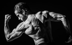 Wallpaper pose, back, hands, black and white, male, monochrome, muscles, athlete