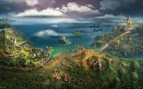 Wallpaper mountains, ship, Bay, Providence World Map