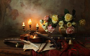 Picture pen, violin, roses, candle, still life, bow