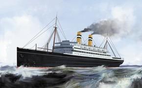 Picture wave, ship, rotterdam, Transatlantic Ships