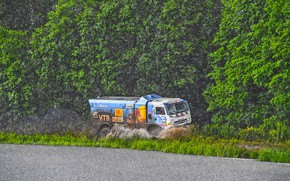 Picture Water, Nature, Trees, Sport, Speed, Rain, Race, Master, Dirt, Squirt, Russia, Kamaz, Rally, Rally, KAMAZ, …