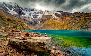 Picture Clouds, Snow, Mountains, Lake, Stones