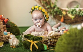 Picture Easter, wreath, nipple, baby