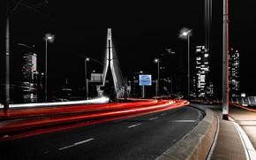 Picture night, lights, Rotterdam, Speedlanes