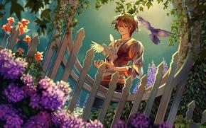 Picture the fence, garden, pigeons, guy, wicket, art, hydrangea, ivy, Alisa Miller, Aliya Chen