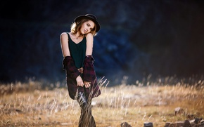 Picture girl, hat, feel so free