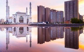 Picture reflection, home, mosque, Kazakhstan, Astana, Hazret-Sultan