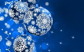 Wallpaper Blue, New Year, Balls, Snowflakes, Holidays