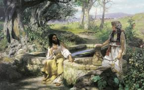 Wallpaper trees, flowers, oil, well, pitcher, Canvas, Christ and the Samaritan woman, 1890, Henri semiradzki