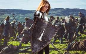 Wallpaper dream, girl, fantasy, armor, field, nature, young, model, pretty, mood, army, battle, look, wind, cute, ...