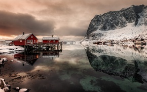 Picture reflection, mountains, home, Norway, the fjord, The Lofoten Islands