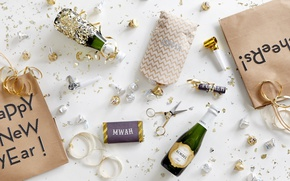 Picture labels, new year, candy, champagne, packages