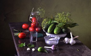 Picture dill, tomato, cucumbers, salt, billet, preserving