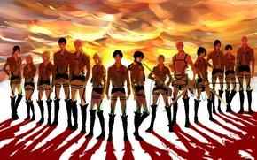 Picture the sky, sunrise, dawn, shadow, boots, swords, art, military uniform, Shingeki no Kyojin, Mikasa Ackerman, ...