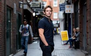 Picture look, street, jeans, male, shirt, Sam Claflin, Sam Claflin, The Guardian