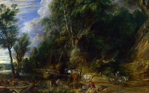 Picture nature, picture, Peter Paul Rubens, Pieter Paul Rubens, Landscape with a Watering place