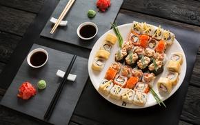 Wallpaper sushi, sushi, rolls, sauce, wasabi, ginger, set, japanese food, sticks