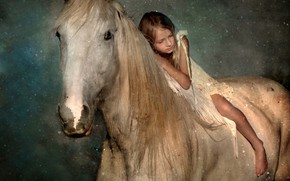 Picture white, the sky, look, face, space, stars, night, pose, mood, horse, horse, rider, girl, white, …