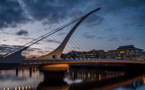 Picture bridge, river, home, the evening, Ireland, Dublin