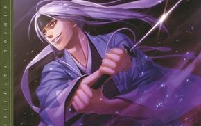 Picture attack, katana, sparks, vampire, cloak, red eyes, art, demons pale cherry, hakuouki shinsengumi kitano, yone …