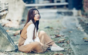Picture girl, street, Asian