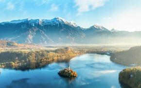 Wallpaper Slovenia, haze, mountains, lake, Slovenia, Lake Bled