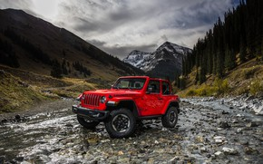 Wallpaper landscape, mountains, red, river, 2018, Jeep, Wrangler Rubicon