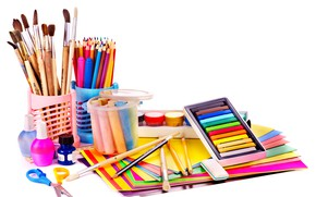 Wallpaper paint, scissors, eraser, paper, crayons, pencils, white background, brush