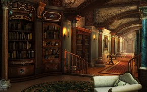 Picture furniture, corridor, columns, library, HOPA scenes