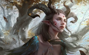 Picture fantasy, magic, horns, trees, feathers, leaves, face, painting, artwork, fantasy art, tattoos, Elf, pointed ears, …