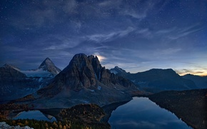 Picture autumn, the sky, stars, mountains, night, rocks, Canada, lake