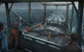 Wallpaper fishing, hauled up corrected, Hauled up Sea Beasts, monster, people, the ship