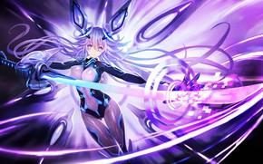 Picture girl, katana, ken, blade, suit, oppai, japonese, Hyperdimension Neptunia