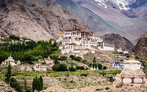 Picture trees, mountains, stones, valley, India, the monastery, Ladakh, Likir Monastery