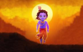 Picture look, sunset, Gopal, Little Krishna