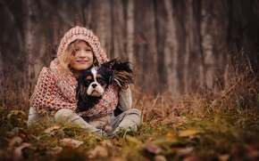 Picture autumn, grass, leaves, trees, nature, dog, scarf, hood, girl, dog
