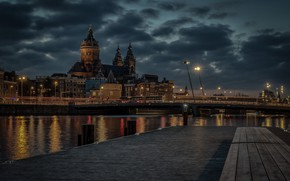 Picture river, building, Marina, home, pier, Amsterdam, Church, Cathedral, Netherlands, night city, Amsterdam, Netherlands, The Church …