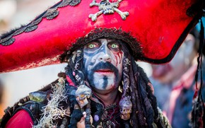 Wallpaper face, costume, pirate, male, makeup